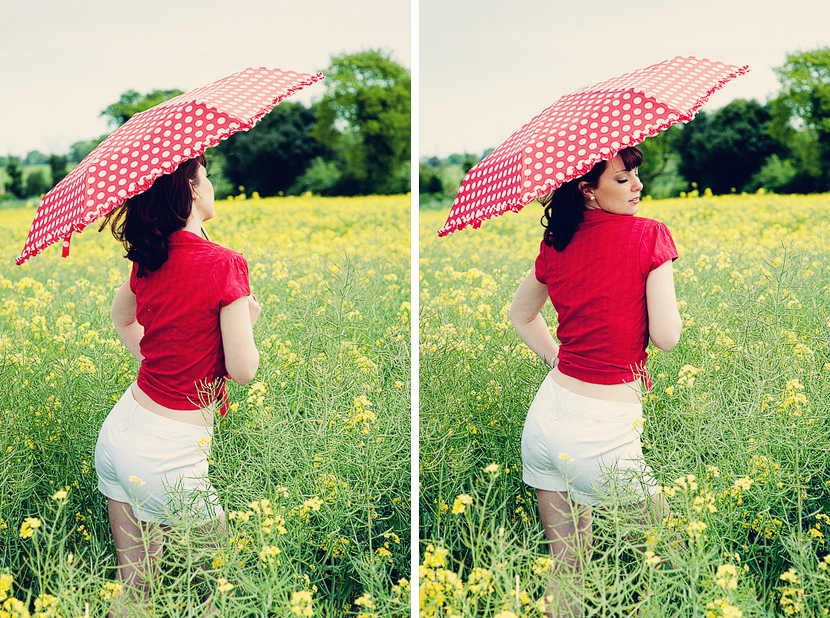 Vintage photography, red umbrella in a field